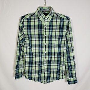 American Eagle Prep Fit Button Plaid Shirt XS